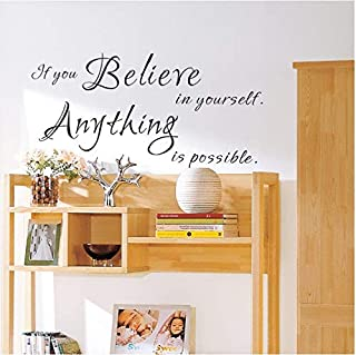 Vinyl Decal Motivational Wall Quotes Stickers Believe In Yourself Bedroom Living Room Home Decor Decals 42 * 87Cm.