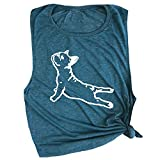 Spunky Pineapple DOGA Frenchie French Bull Dog Funny Yoga Workout Muscle Tee Deep Teal