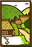 切り絵ポストカード 「日本の風景古民家」 和柄絵葉書 和道楽