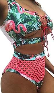 Sexy Women Two Pieces Lace Up Bandage Bikini Swimsuit Set High Waisted Bathing Suit