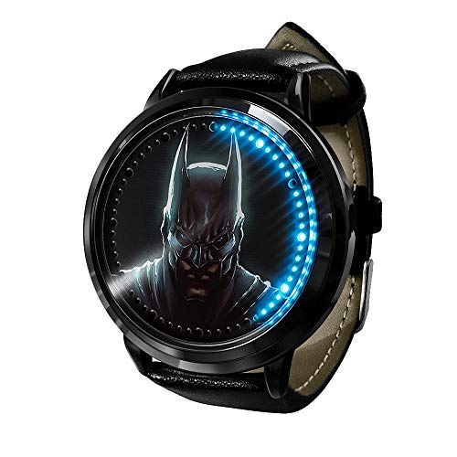 Avengers série Batman Boys, Montre LED étanche à Quartz analogique Montre en Acier Inoxydable Bracelet en Cuir Montre Mode Montre Unisexe garçon Fille Cadeau-A7