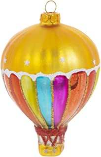 Robert Stanley Hot Air Balloon Blown Glass Ornament for Christmas Tree, Striped Pattern