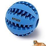 Hundespielzeug Ball von Voyage aus Naturkautschuk   Spielzeug für Hunde   Robuster Natur-Gummi Hundeball für Leckerli mit Dental-Zahnpflege-Funktion mit Noppen und Loch für Leckerli.(blau)