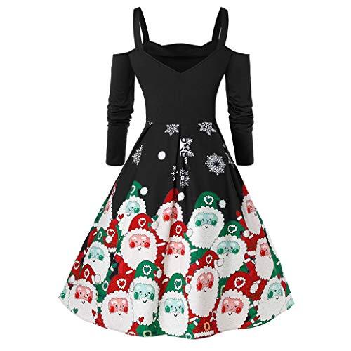 LOPILY Weihnachtskleid Damen Schulterfrei Swing Abendkleider für Weihnachtsfeier mit Santa Claus Druck Cocktailkleid A-Linie Ausgestellte Weihnachtskleider Ausgefallen Jerseykleider (Schwarz, S)