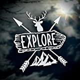Byzee Explore Sticker, Vinyl Car Decal | Camping/Hiking/Hunting Die Cut Vehicle or Laptop Graphic | 5' White Mountains & Elk