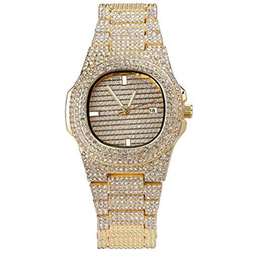HEMOBLLO Strass kristall Uhr luxusuhr analog Quarz Armbanduhr nilpferd Uhr mit Edelstahl Armband (golden)