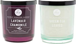 DW Home Lavender Chamomile and Green Tea Leaves Medium 9oz Hand Poured Candles Set of 2 (Lavender Chamomile/Green Tea Leaves)
