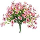 YYHMKB Flores violetas Artificiales, 6 Paquetes de Plantas de Flores Falsas, Flor de imitación Resistente a los Rayos UV, Planta Colgante, para jardín, Boda, casa de Campo Rosa
