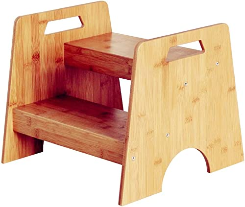 Aufsteigende Trittleiter für Kinder ZWeißchritte Holz H  33 cm Waschtisch Fu chritt Hocker Holz Farbe Blaume St er Rack