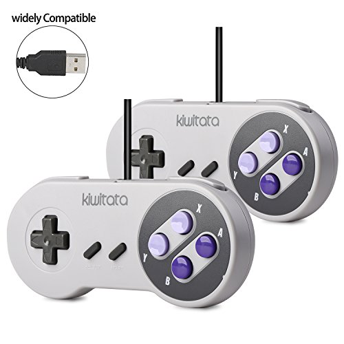 2X Classic SNES USB Controller Gamepad, kiwitatá Retro USB Super NES PC Wired Game Controller Joystick for Windows PC Mac Raspberry Pi