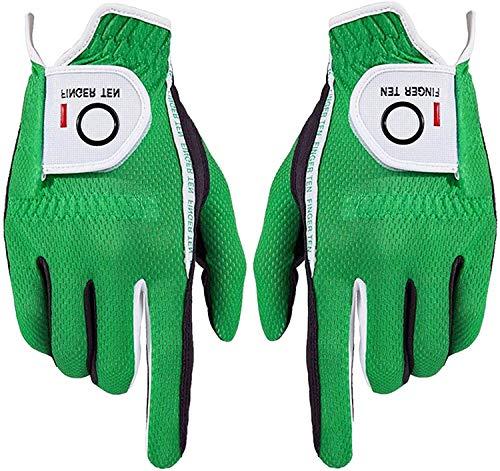 FINGER TEN Herren Golf Handschuh Paar beide Hand Value Pack Hot Wet Rain Grip, Farbe schwarz grau Fit Small Medium Large XL (Grün-1 Pair, ML)