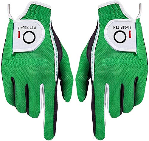 FINGER TEN Herren Golf Handschuh Paar beide Hand Value Pack Hot Wet Rain Grip, Farbe schwarz grau Fit Small Medium Large XL (Grün-1 Pair, ML)