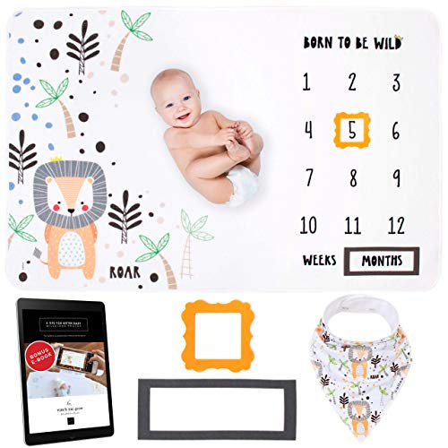 Calloo New Baby Monthly Milestone Blanket Lion Wild | Large 60x40 Extra Soft Premium Fleece, Felt Markers + E-Book | Monthly Blanket for Baby Pictures for Newborn, Girl or Boy Design | Jungle Theme