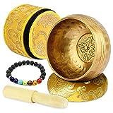 Zelaby Cuenco Tibetano 7 metales~Juego de Cuenco Tibetano a Mano ~Con Pulsera de piedra Chakra, mazo...