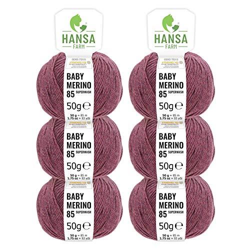100% Merinowolle extrafine superwash in 35+ Farben (kratzfrei) - 300g Set (6 x 50g) - Baby Merino Wolle zum Stricken & Häkeln in 4 Garnstärken by Hansa-Farm - Beere Heather (Rot-Lila)