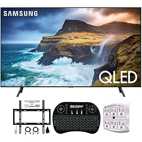 "Samsung QN65Q70RA 65"" Q70 QLED Smart 4K UHD TV with 1 Year Warranty (2019 Model)(Renewed) Flat Wall Mount Bundle with Deco Gear 2.4GHz Wireless Keyboard Smart Remote and 6-Outlet Surge Protector"