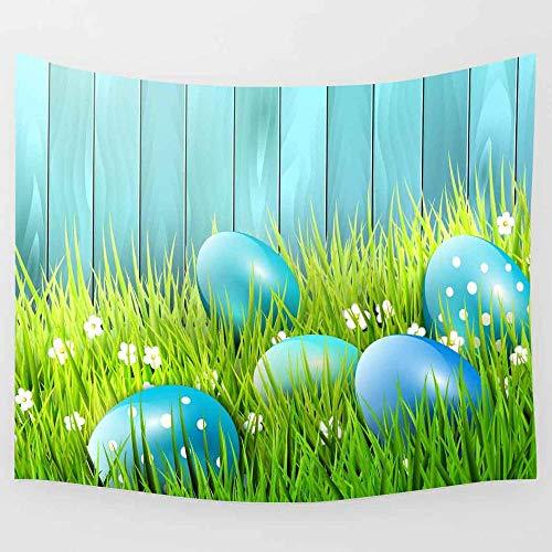 JXWR Día de Pascua Tapiz Hierba Verde Huevos Coloridos Arte Tapiz Colgante de Pared Sala de Estar decoración del hogar 203x152