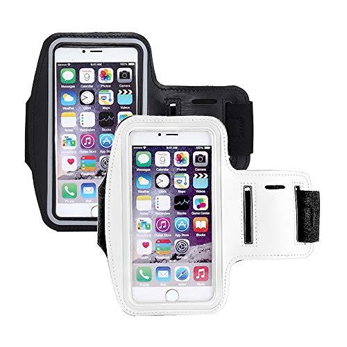 Brassard Sport Téléphone iPhone Jusqu'à 6.0 Pouces Universel Brassard de Course Ajustable Sangle d'extension Écologique Porte-Clés Poche de Carte-Touch ID (A#Noir + Blanc)