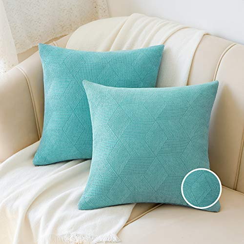 Basic Model Juego de 2 fundas de cojín decorativas de jacquard de 45 x 45 cm, cuadradas, muy suaves, para sofá, decoración, color turquesa