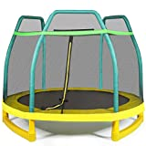 Giantex 7 Ft Kids Trampoline w/Safety Enclosure Net, Spring Pad, Zipper, Heavy Duty Steel Frame, Mini Trampoline for Indoor/Outdoor, Supports up to 220 Pounds, Great Gifts for Kids (Green)