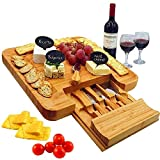Bamboo Cheese Board & Cutlery Set with Slide-Out Drawer, 4 Stainless Steel Knife, Wood Platter &...