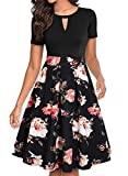 YATHON A Line Dresses for Women Black Retro Red Flower Print Pocket Short Sleeve Knee-Length Stretchy Pleated 50 s Fit and Flare Dresses for Work (M, YT018-Black Floral 04)