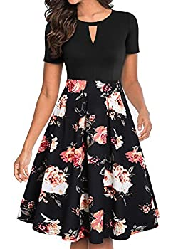 YATHON Fit and Flare Floral Print Patchwork Dress Women s Elegant V Keyhole Pocket Swing Going Out Holiday Party Homecoming Casual Fall Cute Dress  L YT018-Black Floral 04