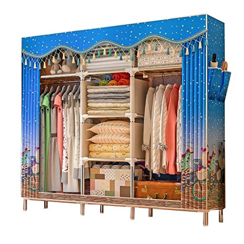 FANJIANI Kledingkasten, eenvoudige stof, garderobe paneeldoek, dikking, garderobe, steel, pipe bold, versterking, assembly start, gordijn met Japanse doek