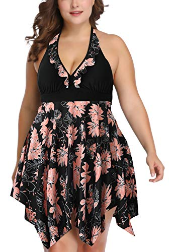 Women's Plus Size Swimwear Retro Halter Tankini Removable Padded Breathable Bathing Suit 2 Pieces 3XL