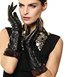 Women's Touchscreen Texting Winter Elbow Length Long Warm Fleece Lined Nappa Leather Dress Gloves Buttons Smartphone (S, Black)