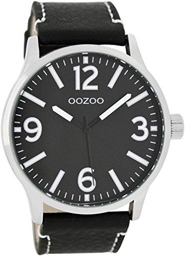 Oozoo Herrenuhr mit Lederband 45 MM Schwarz/Schwarz C7409