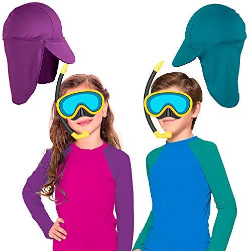 Blusa infantil Proteção Solar UV 50+ Masculina Feminina Bebê Criança c/boné (Azul, 6 meses - 1 ano)