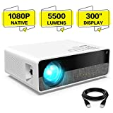 ELEPHAS Projector Q9 Native 1080P HD Video Projector, 5500 Lumens up to 300""