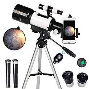 ToyerBee Telescope for Kids& Beginners, 70mm Aperture 300mm Astronomical Refractor Telescope, Tripod& Finder Scope- Portable Travel Telescope with Smartphone Adapter and Wireless Remote by ToyerBee