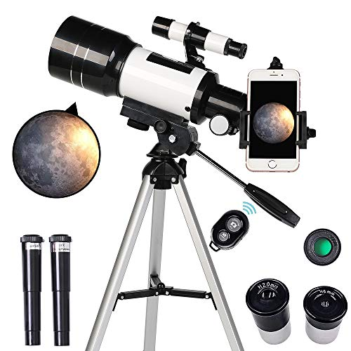 ToyerBee Telescope for Kids& Beginners, 70mm Aperture 300mm Astronomical Refractor Telescope, Tripod& Finder Scope- Portable Travel Telescope with...