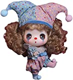 Cute Clown Doll for Girls, 18cm Simulation Doll Confused Cute Clown Girl Figurine Handicraft Accessory Excellent Comfortable Toy, Exquisite Vinyl Dressing Doll Gift for Kids
