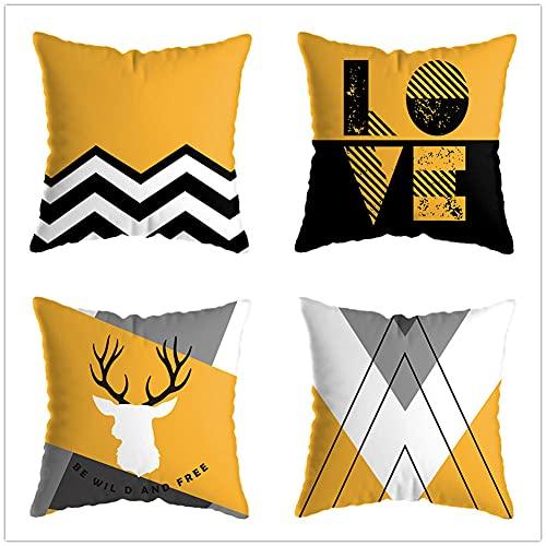 Juego de 4 Cuadrada Fundas de cojín Lino de algodón Throw Cojín Decorativas Geométrico Blanco Amarillo para sofá Cama Dormitorio decoración 50x50cm(20x20in)