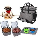 Teamoy Borsa da Viaggio per Dog Gear, Borsa da Viaggio per Cani con 2 Ciotole Pieghevoli in Silicone, 2 contenitori per Alimenti, 1 Tappetino per Le Ciotole (Piccolo, Grigio)