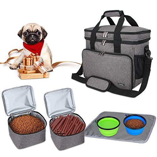 Teamoy Bolsa de Viaje para Perro, Bolsa de Viaje para Perro con 2 tazones Plegables de Silicona, 2 Almacenamiento de Alimentos, 1 Estera de Platos (Pequeño, Gris)