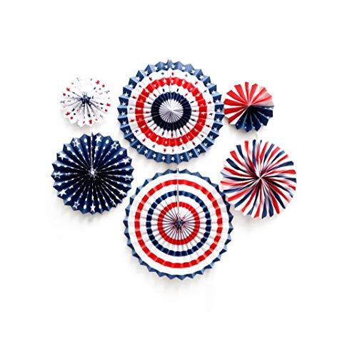Nicedier servilleta Flor de la Fan Banner Colgante para Ducha del bebé Decoración de Fiesta 6pcs / Set Necesidades de la Bandera de Estados Unidos Diaria Estilo