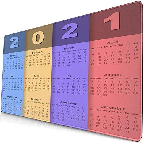 Alfombrilla de ratón grande de 90 x 30 cm x 0,3 cm, para calendario, 2021, sin labios, cómoda base de goma para escritorio, PC y laptopolour17