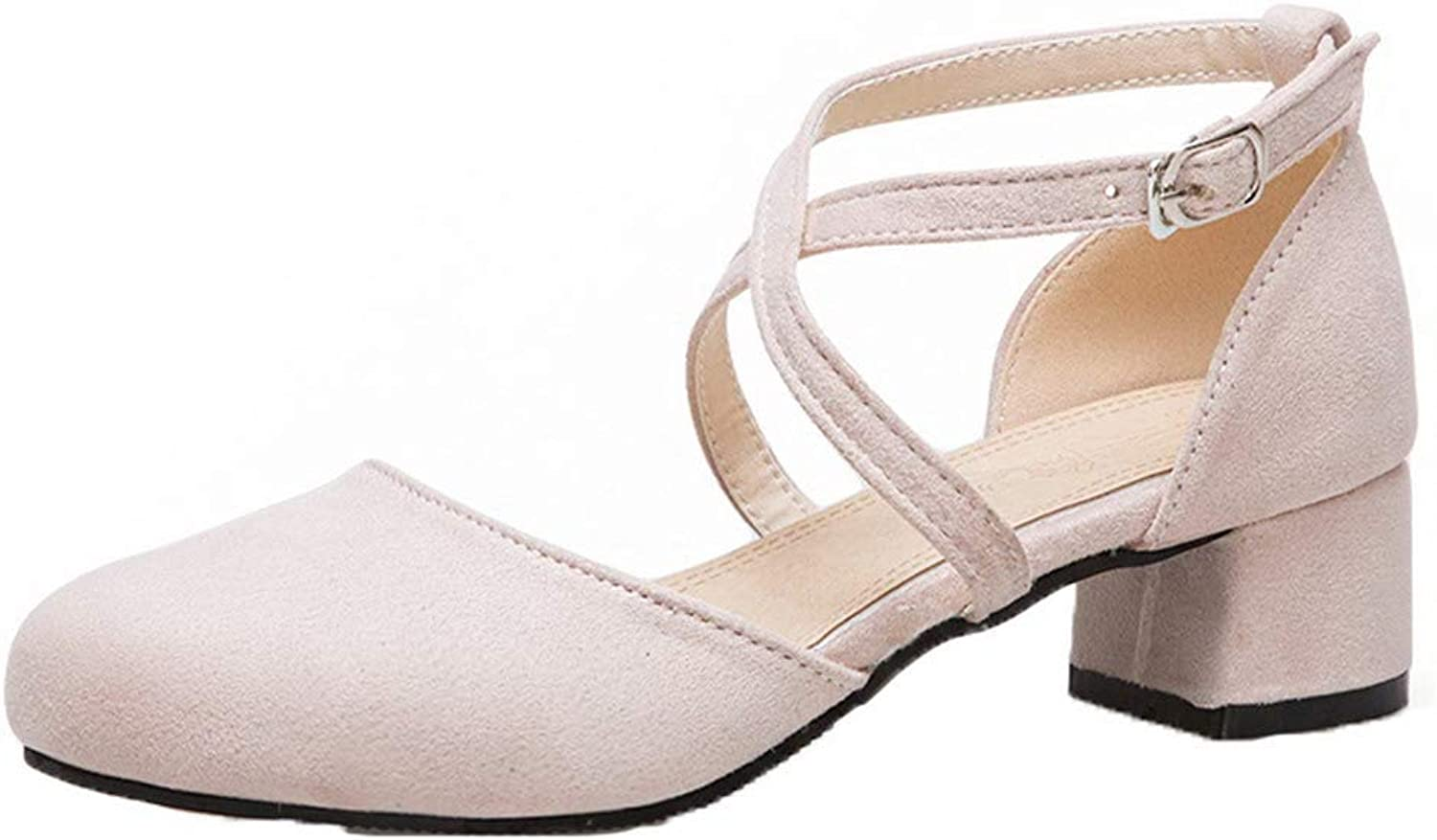 AmoonyFashion Women's Solid Frosted Low-Heels Buckle Closed-Toe Sandals, BUTLT007752
