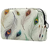 Bolsa de aseo de viaje fácil organización para hombres o mujeres patrón de plumas de pavo real elegante 18,5 x 7,5 x 13 cm