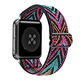 Adjustable Stretchy Solo Loop Nylon Strap Compatible with Apple Watch Elastic Band 42mm 44mm iWatch Series SE/6/5/4/3/2/1 (Rose-Green Arrow, 42mm/44mm)