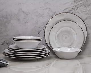 طقم أطباق أطباق من الميلامين - 12 قطعة من أطباق العشاء من الميلامين، أطباق السلطة والأطباق للاستخدام اليومي