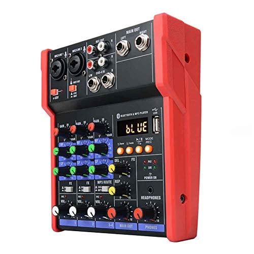 Mini Audio Mixer, 4 Channels KTV Stereo Live Performance Music DJ Console uetooth Karaoke Stage Protable Sound Card Studio B 5V Home