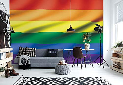 Wallsticker Warehouse Flagge Regenbogen Schwul Lesbisch Fototapete - Tapete - Fotomural - Mural Wandbild - (491WM) - XL - 254cm x 184cm - Papier (KEIN VLIES) - 2 Pieces