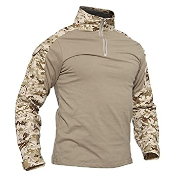 TACVASEN Mens Tactical Digital Camo Tactical Assault Long Sleeve T-Shirt Tops Desert,US S