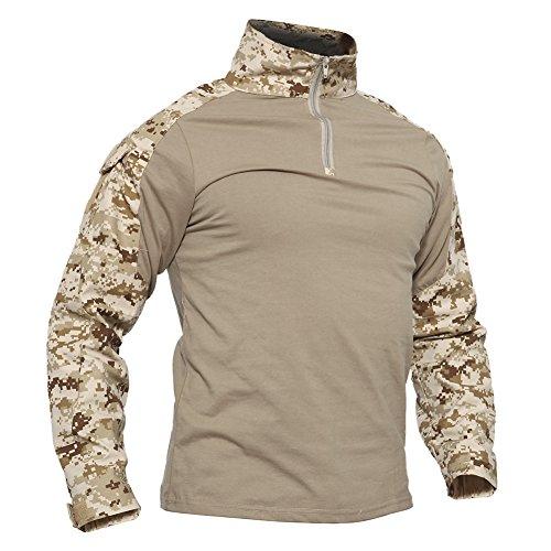 TACVASEN Mens Tactical Digital Camo Tactical Military Long Sleeve T-Shirt Tops Desert,US 2XL/Tag 5XL
