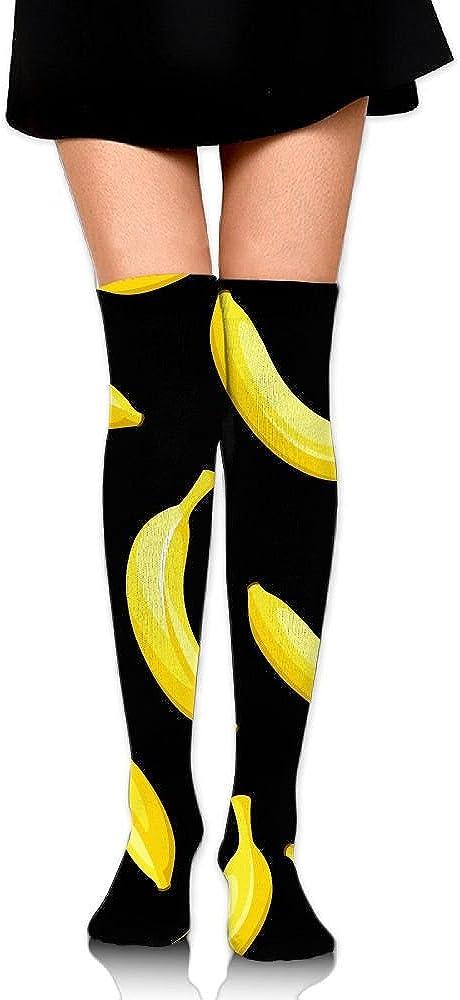 Knee High Socks Banana Cartoon Women's Work Athletic Over Thigh High Long Stockings